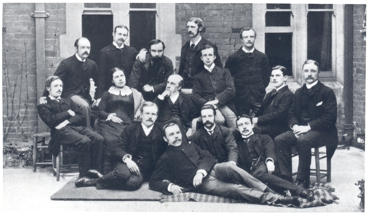Samuel and Henrietta Barnett with Toynbee Hall's first residential volunteers, circa 1885