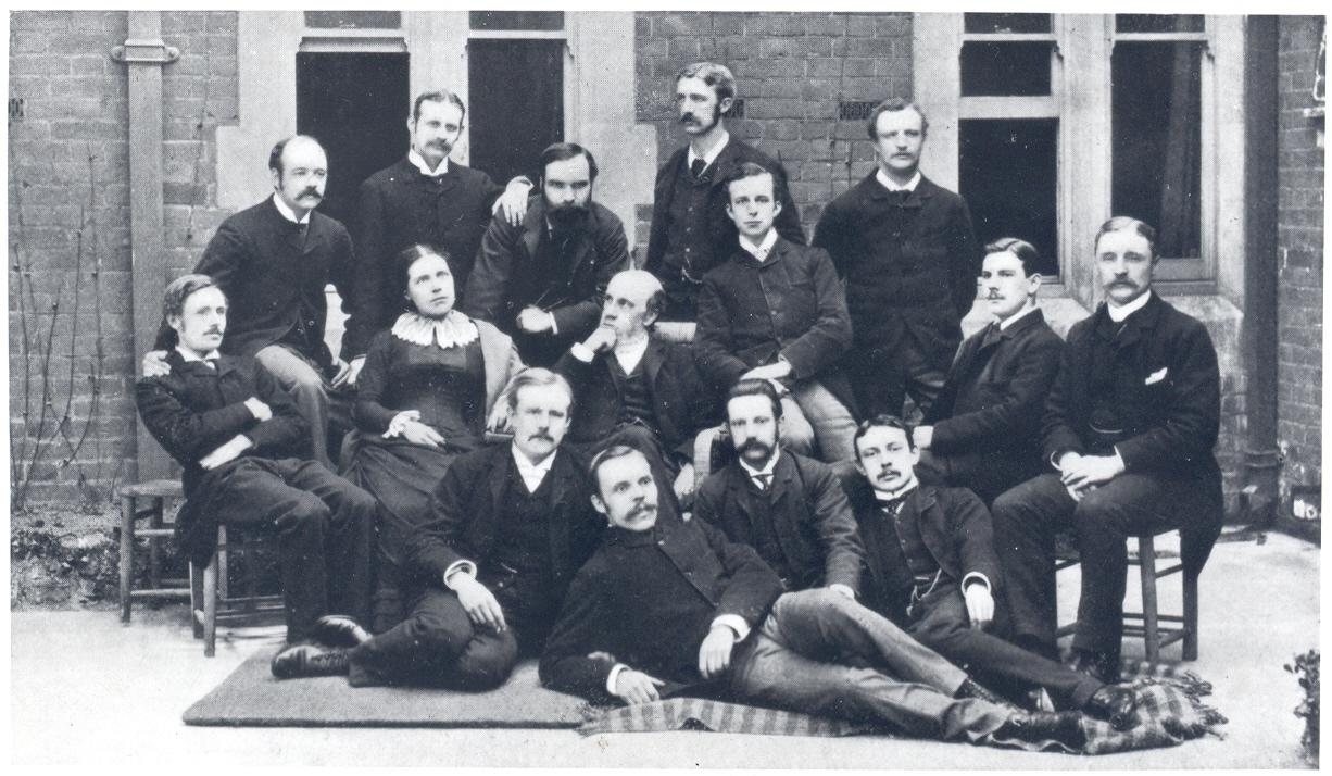 Samuel and Henrietta Barnett with Toynbee Hall's first residential volunteers, circa 1885